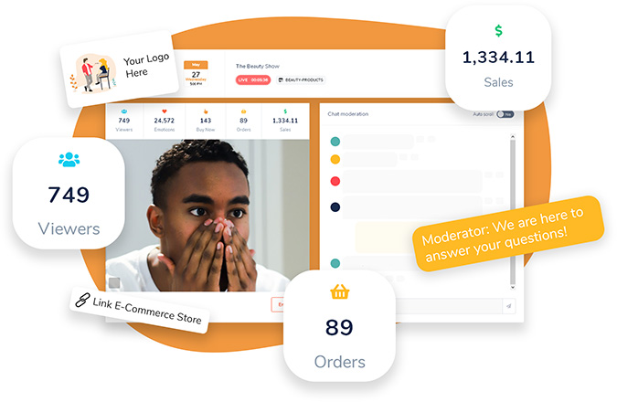 Customisable LIVE Shopping experience with moderation panel and KPIs
