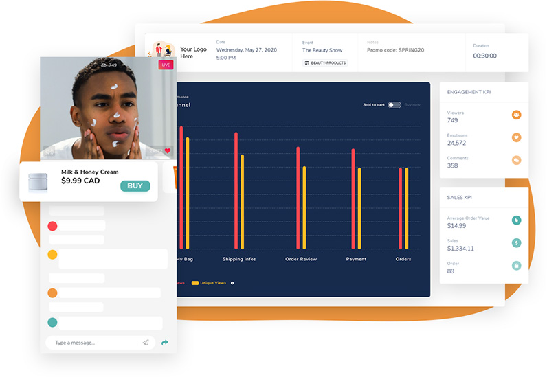 Branded LIVE Shopping solution with real-time analytics dashboard