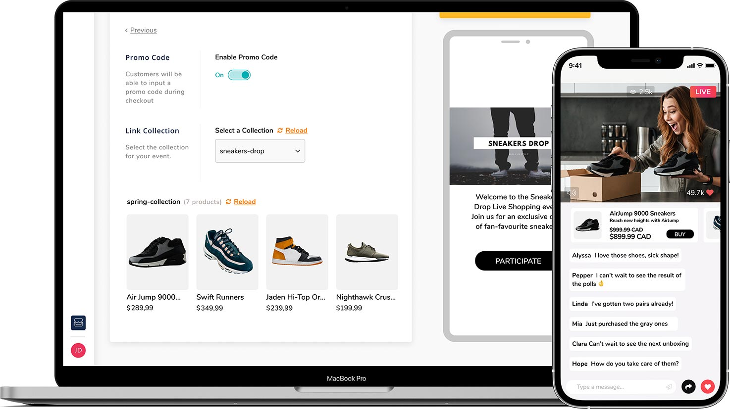 Product Sync of Live Shopping App Livescale with Sneakers Event