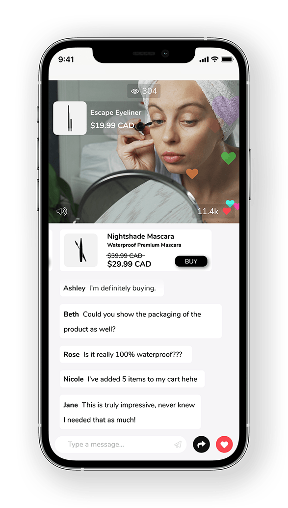 Branded Live Shopping solution app with chat, gamification, and fast checkout